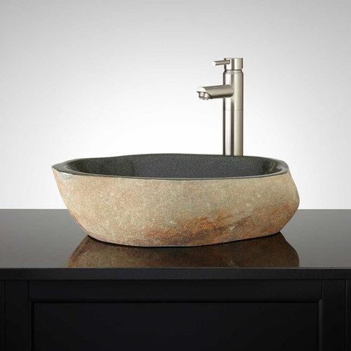 FARNLEY GREEN RIVER STONE VESSEL SINK   Bathroom Sinks
