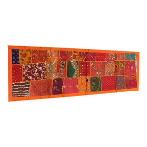 Mogul Interior - Vintage-Style Decor Table Runner Sari Patch Work Wall Throw Tapestry - Table Runners