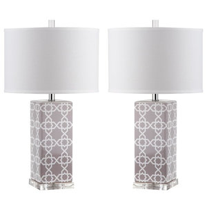 Safavieh Leo Table Lamps, Set of 2, Grey