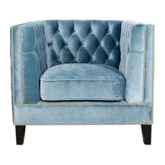 Pasargad Home - Pasargad Victoria Collection Velvet Armchair, Blue Gray - Armchairs and Accent Chairs