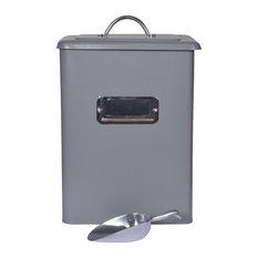 Garden Trading - Charcoal Steel Pet Bin With Scoop, Medium - Dog Supplies