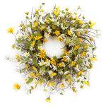 Melrose International - Daisy Wreath - Daisy wreath with sprigs of foliage throughout.