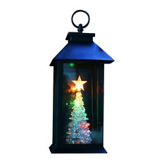 Alpine Corporation - Christmas Tree Lantern Stake With Color Changing LED Lights - Holiday Lighting