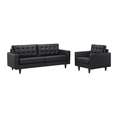 Bonded Leather Sofa And Armchair With Tapered Solid Wood Legs Set Of 2 Black