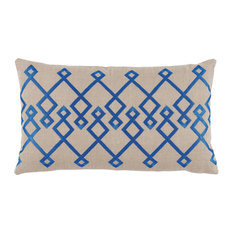 Chevron Embroidery Lumbar Pillow, Pacific on Natural