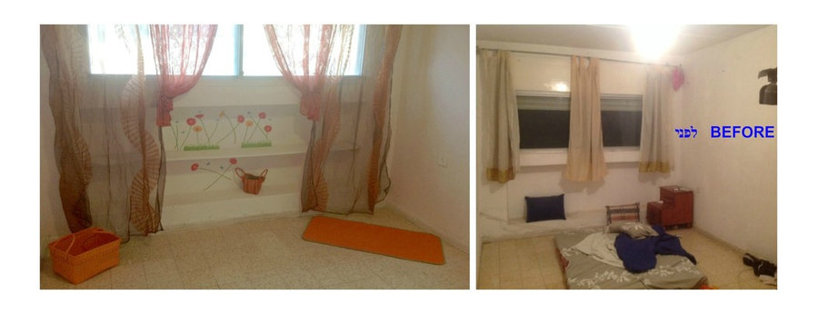 bedroom with fun nisha under window and curtains