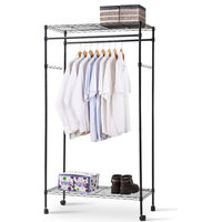 Costway Rack Double Hanging Clothes Rail Rolling Adjustable Portable Shelf