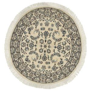 Nain 9La Oriental Rug, Round Hand-Knotted, 100x100 cm
