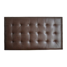 For Now Designs - Upholstered Wall Mounted Headboard, Chocolate Genuine  Leather With Nail Trim,