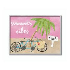 """Summer Vibes Bike Pink Green Beach Ocean Design, 11""""x14"""", Gray Frame"""