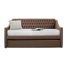 Sleigh Daybed, Tufted Back Rest and Nail Head Accent in Polyester Fabric, Brown