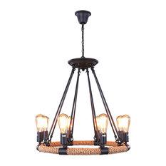 remix lighting hemp rope and iron hook chandelier matte black 8 lights