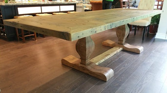Country Style Harvest Table with Custom Pedestal Legs and Leaves