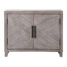 Modern Farmhouse Gray Wood Accent Cabinet   Whitewash Shelf Geometric Cottage