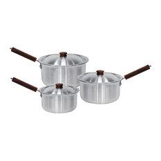 Pavo Aluminium Saucepan Set With Lids 3-Piece, 16 cm, 18 cm and 20 cm, Silver