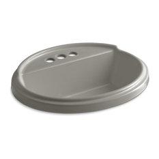 """Kohler Tresham Oval Drop-In Bathroom Sink, 4"""" Centerset Faucet Holes, Cashmere"""