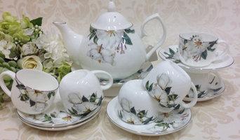 White camellia mini teapot set