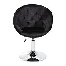 Antoinette Round Tufted Vanity Chair, Black Velvet