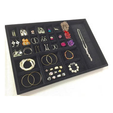 Velvet Jewelry Tray With Earring Compartments, Black, Large