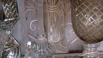 Italian linen drapery panels with crystal accessories in Fino Lino showroom.
