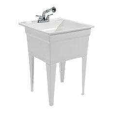 bay bergen heavy duty sink fully loaded sink kit white utility sinks - Laundry Utility Sink