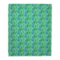 Palm Springs Green And Blue Fleece Throw Blanket