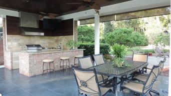 outdoor kitchen under pavillion