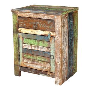 vidaXL End Table w/ 1 Drawer 1 Door Reclaimed Wood Side Storage Cabinet Stand