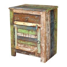 VidaXL   VidaXL Reclaimed Wood Cabinet Multicolor End Table, 1 Drawer Door    Side