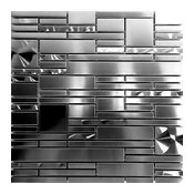 """Brushed Nickel Jeweling Stainless Steel Blends Mosaic Tile, 12""""x12"""", Set of 10"""