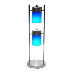 2-Light Adjustable Table Lamp, Blue