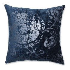 "Pillow Perfect Metallic Suzani Cerulean 18"" Throw Pillow"