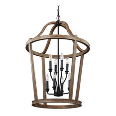 Feiss Lorenz 8-Light Chandelier, Weathered Oak Wood