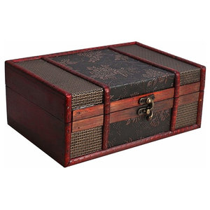 Treasure Storage Chest, Brown Finished Solid Wood