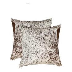 "18"" X 18"" Salt & Pepper Chocolate & White Cowhide 2-Pack Pillow"