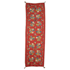 Kilim Embroidery Flowers Long Rug, 87x271 cm