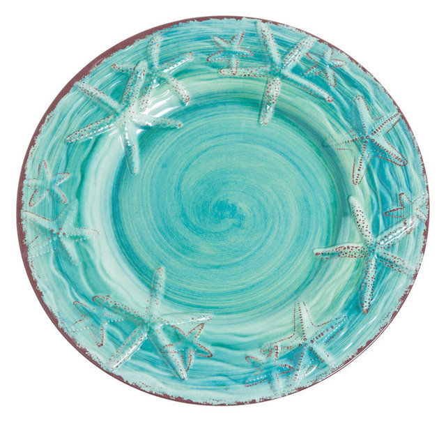 Galleyware Raised Starfish Melamine Dinner Plates - Beach Style ...