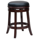 """Boraam - Javier Counter Stool, Cherry, 24"""" - The Javier Counter Stool from Boraam Industries, Inc. boasts a solid hardwood footrest and upholstered cushioned seat. Boasting a 360-degree swivel mechanism, this piece has been designed with your comfort in mind. This stool also features a high-density foam seat cushion upholstered in shiny black bonded leather. Exuding a warm, luxurious feel, thanks to its rich colors and sumptuous textures, this stool from Boraam Industries, Inc. makes a sophisticated addition to any interior space."""