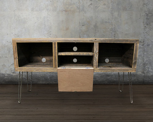 Reclaimed Wood Media Console, Hairpin Legs