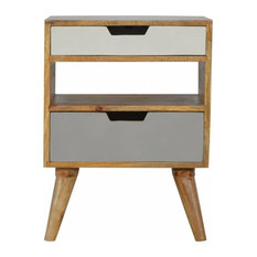 Jerry Bedside Table 2-Drawer, Solid Wood