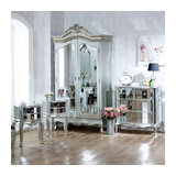 Bedroom Furniture Set, Mirrored Double Wardrobe, Chest of Drawers and Pair of Be
