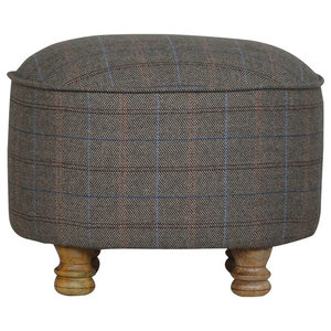 Oak Finish Mango Wood Effect Oval Footstool, Multi Tweed