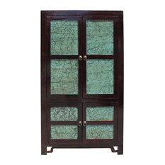 Chinese Distressed Turquoise Brown Large Armoire Wardrobe Cabinet cs2708