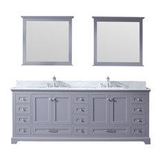 "84"" Double Vanity, Dark Gray, White Carrera Marble Top, White Sinks, 34"" Mirror"