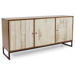 Artefama - Doppo Buffet - A perfect combination between rustic and contemporary, this buffet features a reclaimed wood finish doors a metal base and a solid pine wood case. It's certainly to enhance any dining decoration.