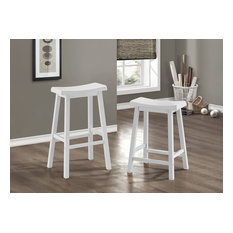 Saddle Seat Barstools, 2 Piece Set Furniture, 1535, White, 29