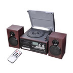 Stereo Record Player Turntable With Speakers Bluetooth Am/Fm Cd Cassette