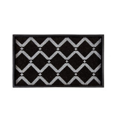 """24.5""""x14""""x1.5"""" Rubber Boot Tray With Black/Ivory Diamond Coir Insert"""