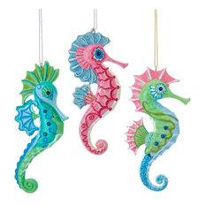 Mermaid Fantasy Pink Green Blue Seahorses Christmas Holiday Ornaments Set of 3
