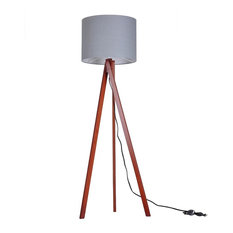 YesHom   Tripod Floor Lamp Cotton Lampshade With Wood Color Oak Stand, Wood  Walnut
